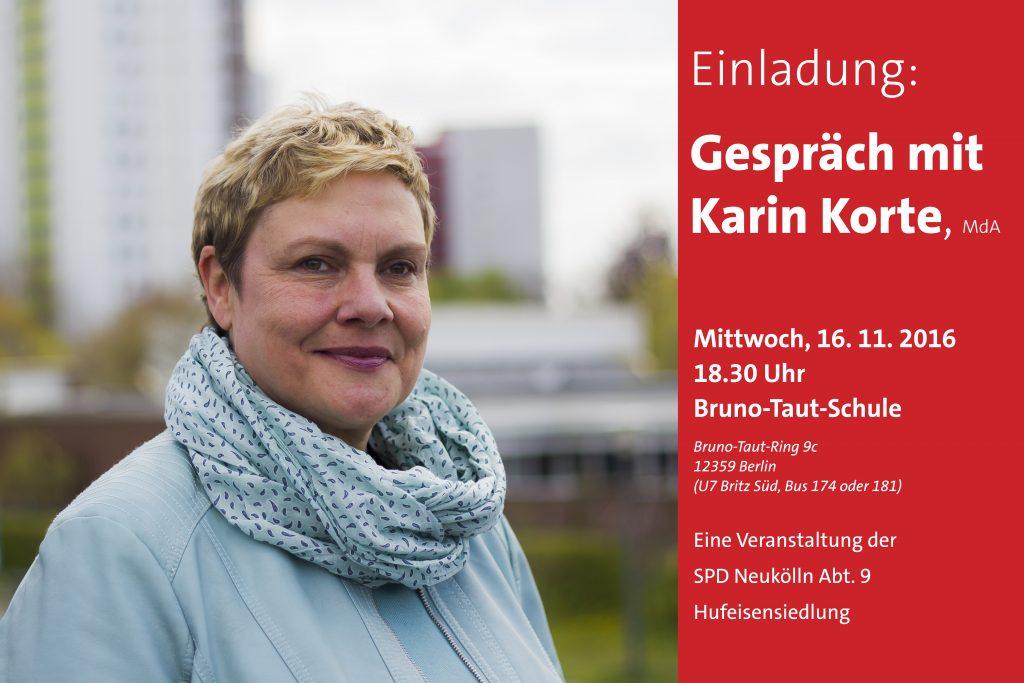 Einladung der SPD Neukölln Abt 9 Hufeisensiedlung zum Gespräch mit Karin Korte, MdA
