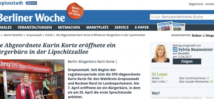Berliner-Woche berichtet über Eröffnung meines Wahlkreisbüros