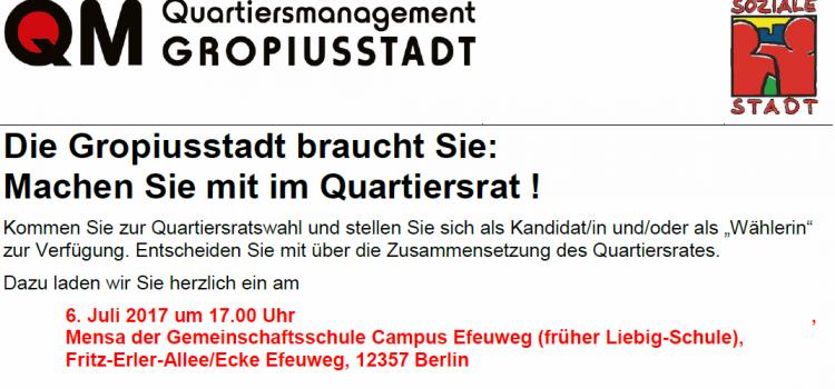 Quartiersratswahlen in der Gropiusstadt – beteiligen Sie sich!