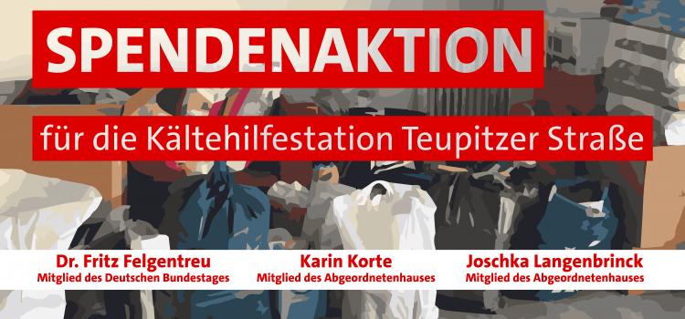 Spendenaktion für die Kältehilfestation Teupitzer Straße